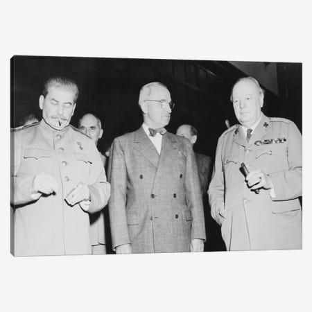 WWII Photo Of Joseph Stalin, Harry Truman, And Winston Churchill Canvas Print #TRK367} by John Parrot Canvas Art Print