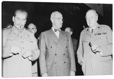 WWII Photo Of Joseph Stalin, Harry Truman, And Winston Churchill Canvas Art Print