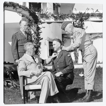 WWII Photo Of President Franklin Roosevelt Presenting The Medal Of Honor Canvas Print #TRK368} by John Parrot Canvas Art