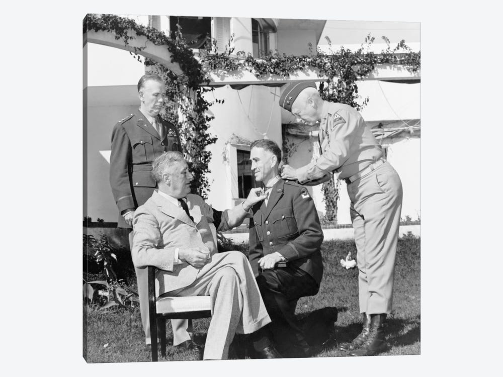 WWII Photo Of President Franklin Roosevelt Presenting The Medal Of Honor by John Parrot 1-piece Art Print