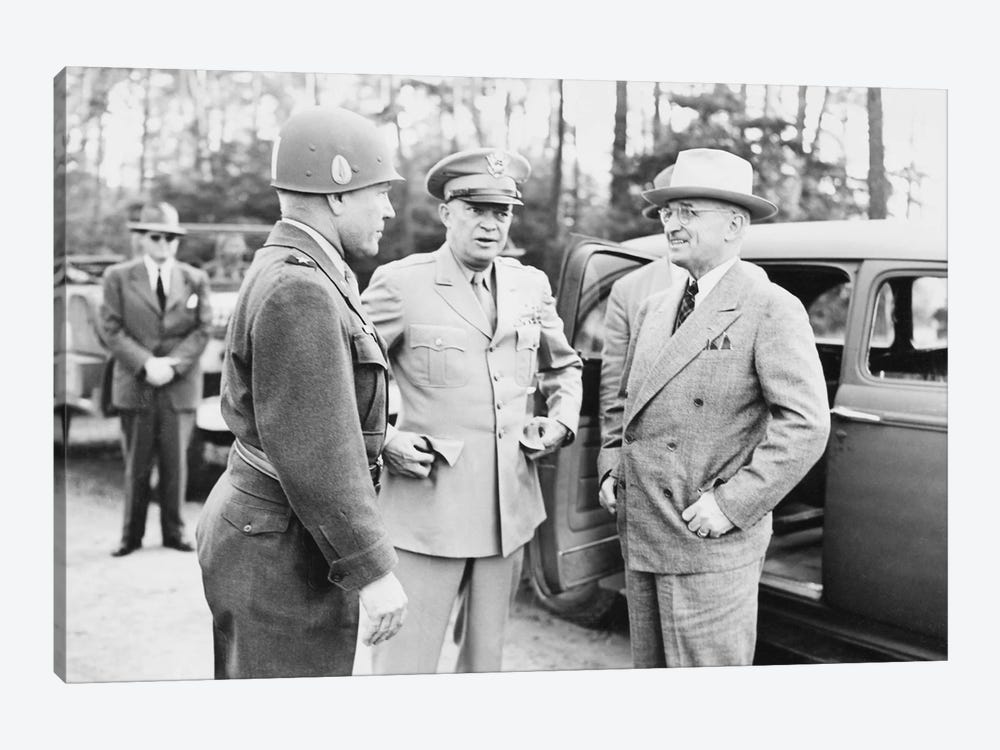 WWII Photo Of President Harry Truman Talking To Generals Eisenhower And Hickey 1-piece Canvas Wall Art