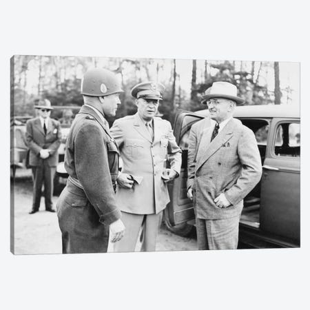 WWII Photo Of President Harry Truman Talking To Generals Eisenhower And Hickey Canvas Print #TRK369} by John Parrot Canvas Wall Art