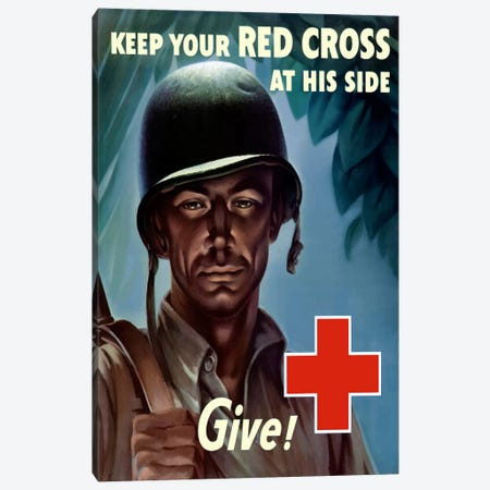Red Cross Give! Wartime Poster Canvas Print #TRK36} by John Parrot Canvas Art