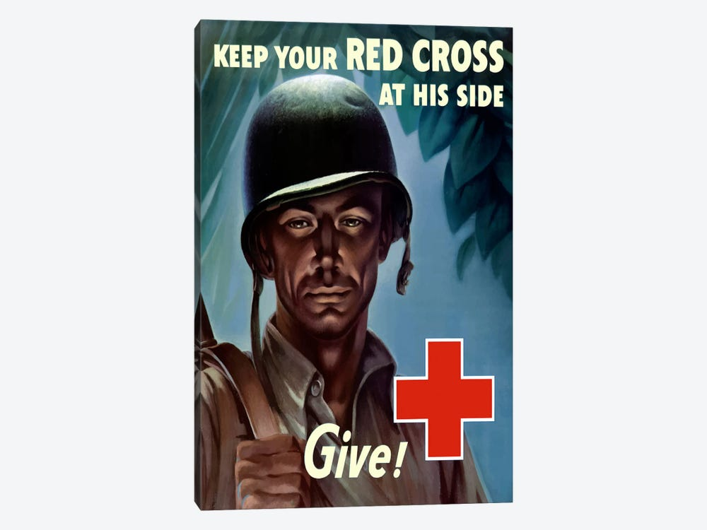 Red Cross Give! Wartime Poster by John Parrot 1-piece Canvas Wall Art