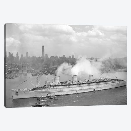 WWII Photo Of RMS Queen Mary Arriving In New York Harbor Canvas Print #TRK370} by John Parrot Canvas Art Print