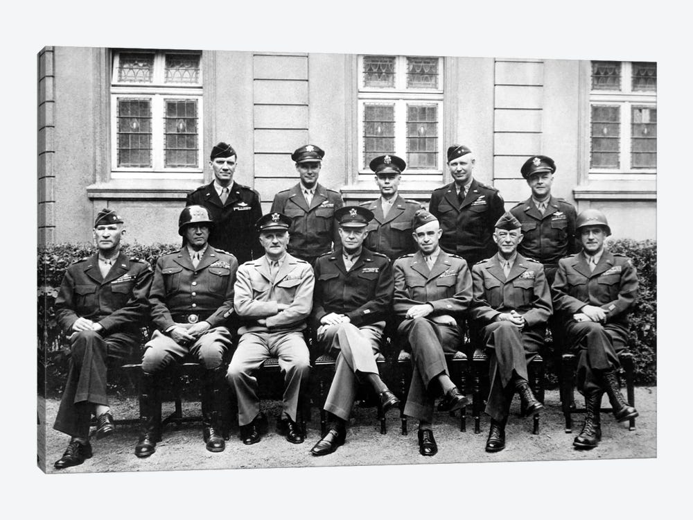 WWII Photo Of The Senior American Military Commanders Of The European Theater by John Parrot 1-piece Canvas Print