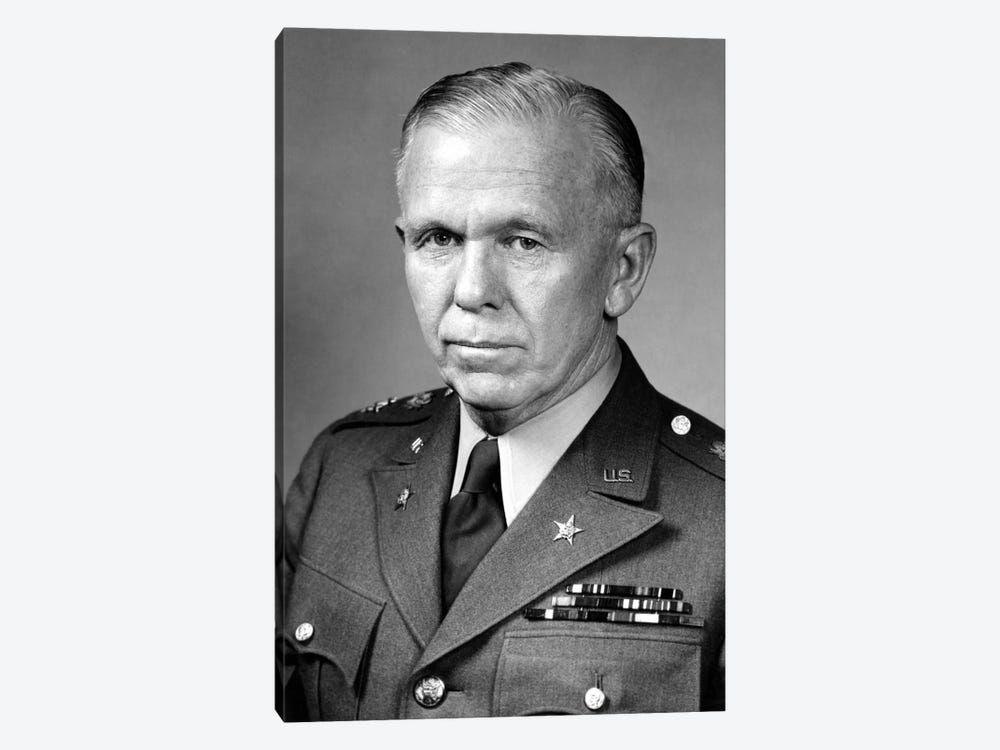 WWII Portrait Of General George Marshall by John Parrot 1-piece Canvas Art