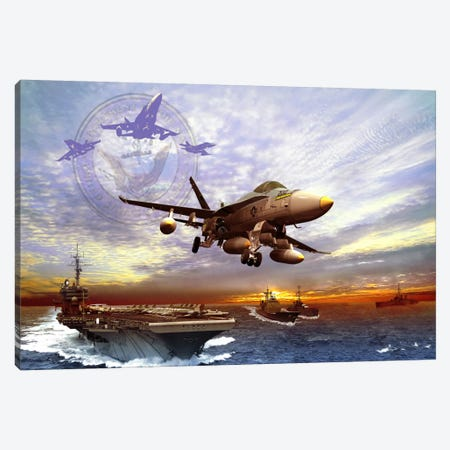 F/A-18 Hornet Taking Off From A US Navy Aircraft Carrier Canvas Print #TRK374} by Kurt Miller Canvas Wall Art