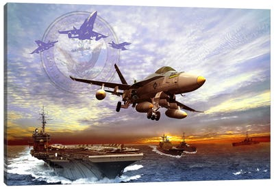 F/A-18 Hornet Taking Off From A US Navy Aircraft Carrier Canvas Art Print