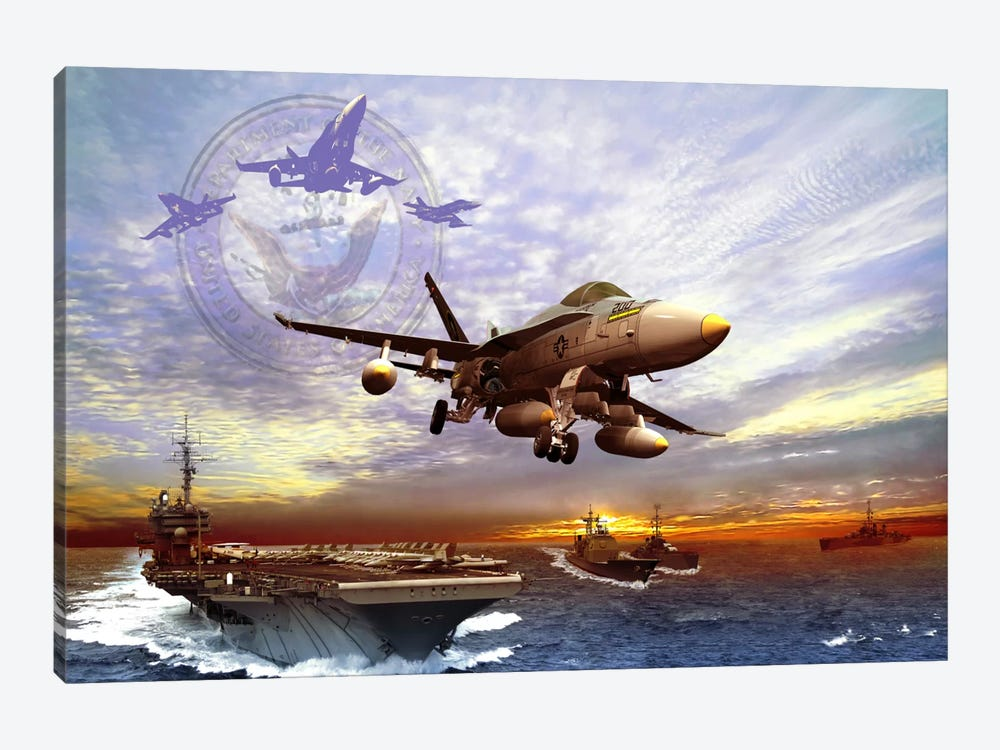 F/A-18 Hornet Taking Off From A US Navy Aircraft Carrier by Kurt Miller 1-piece Canvas Wall Art