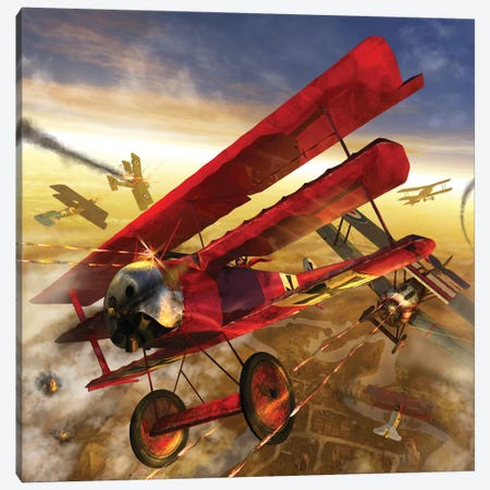 German Triple Wing Biplane The Red Baron, WWI Western Front Air Assault Canvas Print #TRK375} by Kurt Miller Canvas Wall Art