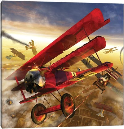 German Triple Wing Biplane The Red Baron, WWI Western Front Air Assault Canvas Art Print