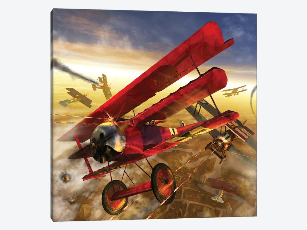 German Triple Wing Biplane The Red Baron, WWI Western Front Air Assault by Kurt Miller 1-piece Canvas Art Print