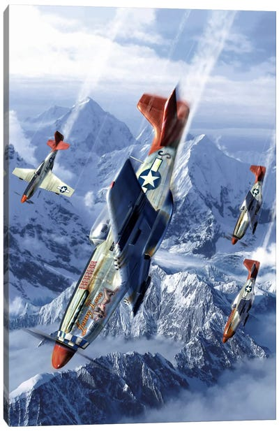 Tuskegee Airmen Flying Near The Alps In Their P-51 Mustangs Canvas Art Print
