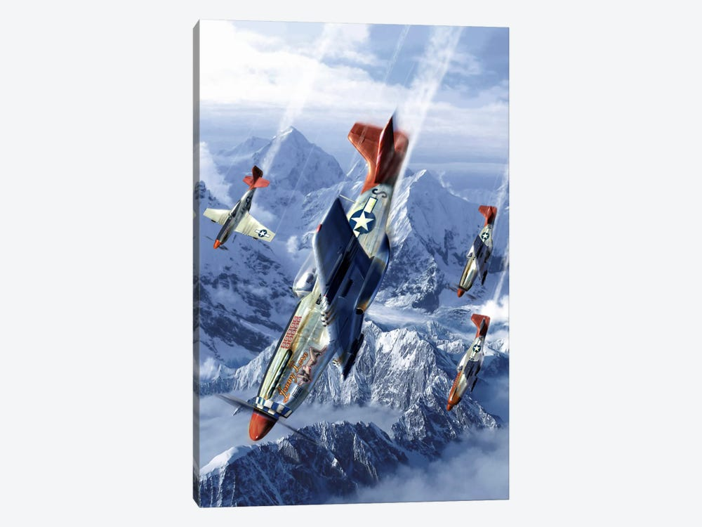 Tuskegee Airmen Flying Near The Alps In Their P-51 Mustangs by Kurt Miller 1-piece Canvas Wall Art