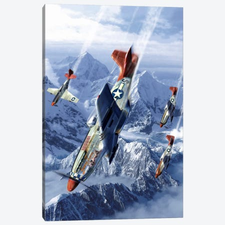 Tuskegee Airmen Flying Near The Alps In Their P-51 Mustangs 3-Piece Canvas #TRK376} by Kurt Miller Canvas Artwork