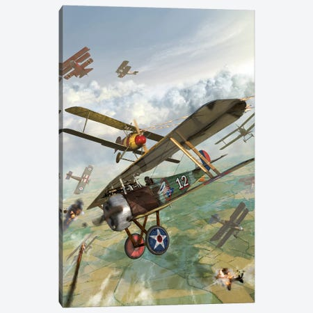 WWI US Biplane Attacking German Biplanes Canvas Print #TRK377} by Kurt Miller Canvas Artwork