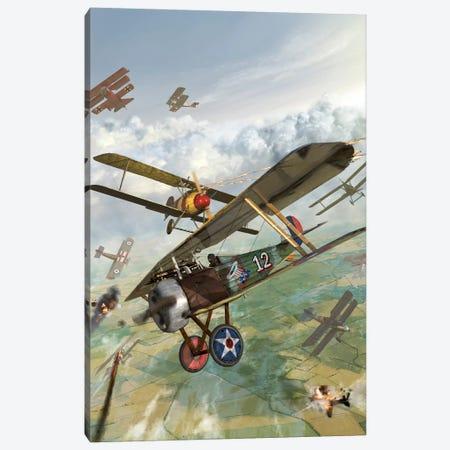 WWI US Biplane Attacking German Biplanes Canvas Print #TRK377} by Kurt Miller Canvas Artwork