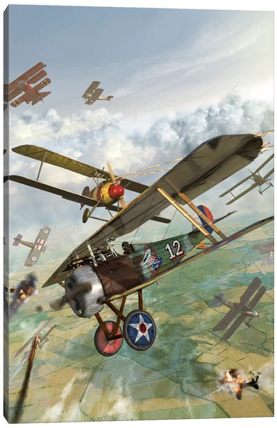WWI US Biplane Attacking German Biplanes Canvas Art Print