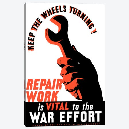 Repair Work Is Vital To The War Effort Vintage Poster Canvas Print #TRK37} by John Parrot Canvas Wall Art