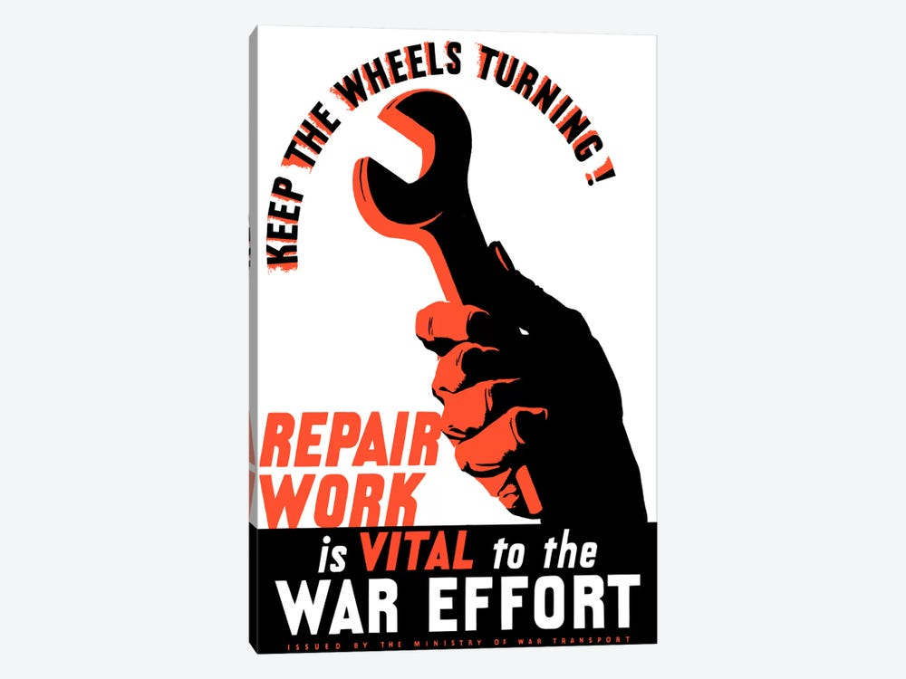 Repair Work Is Vital To The War Effort Vintage Poster by John Parrot 1-piece Art Print