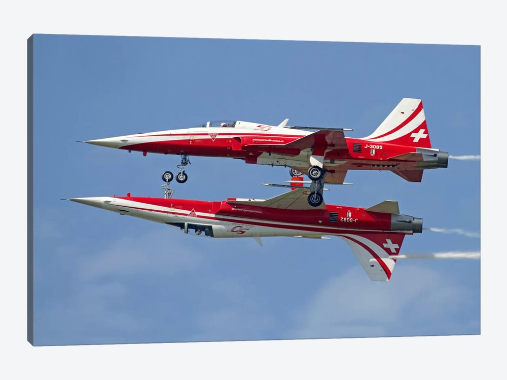 F-5 Tiger II Aircraft Of Patrouille Suisse Demonstrate The Calypso Pass by Luca Nicolotti 1-piece Art Print