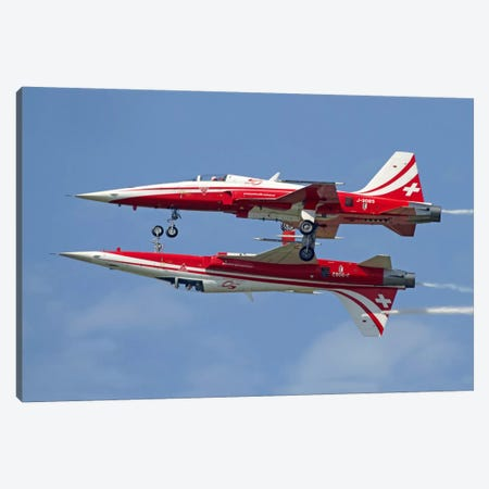 F-5 Tiger II Aircraft Of Patrouille Suisse Demonstrate The Calypso Pass Canvas Print #TRK380} by Luca Nicolotti Canvas Art