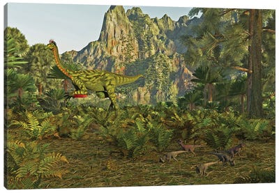 Beishanlong Dinosaur In Gansu, China, Along With Small Archaeoceratops In The Foreground Canvas Art Print
