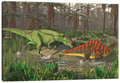 Carcharodontosaurus Chasing After An Ouranosaurus In The Wetlands Of North Africa Canvas Art Print