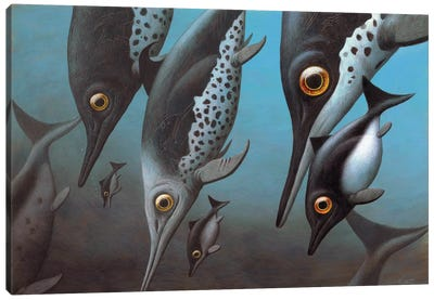 A Group Of Cryopterygius Kristiansenae Dives Down To The Dark Depths Of Jurassic Seas Canvas Art Print