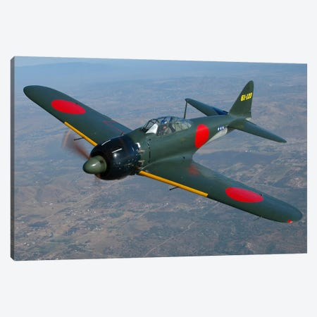 A6M Japanese Zero Flying Over Chino, California Canvas Print #TRK383} by Phil Wallick Canvas Artwork