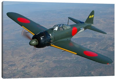 A6M Japanese Zero Flying Over Chino, California Canvas Art Print