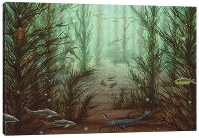 Silurian Underwater Scene From Norway With Different Species Of Sea Scorpions And Fish Canvas Art Print