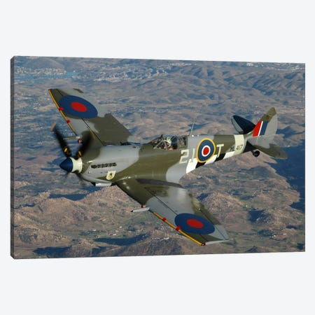British Supermarine Spitfire Mk-16 Flying Over Northern California Coastline Canvas Print #TRK386} by Phil Wallick Art Print