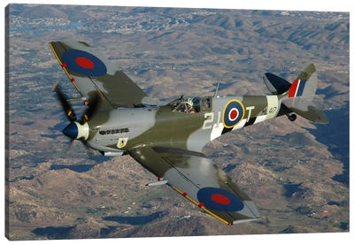 British Supermarine Spitfire Mk-16 Flying Over Northern California Coastline Canvas Art Print