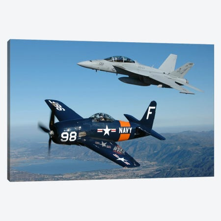 F/A-18 Hornet And F8F Bearcat Flying Over Chino, California Canvas Print #TRK387} by Phil Wallick Canvas Art Print
