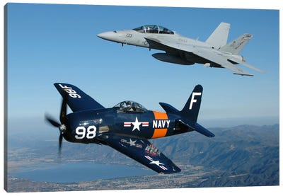 F/A-18 Hornet And F8F Bearcat Flying Over Chino, California Canvas Art Print