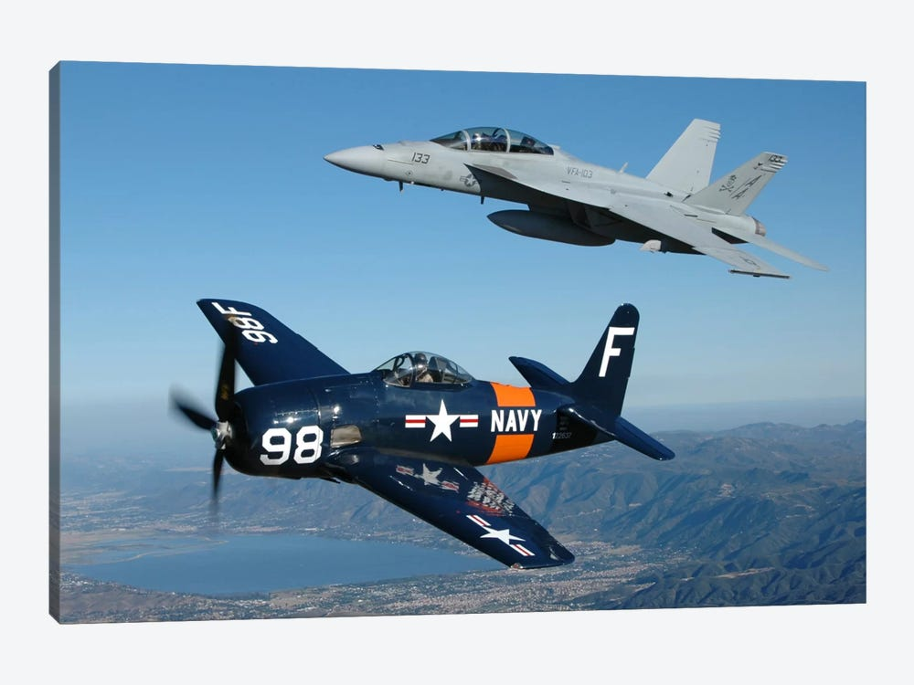 F/A-18 Hornet And F8F Bearcat Flying Over Chino, California by Phil Wallick 1-piece Canvas Artwork