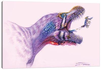 Tyrannosaurus Rex Lunges At An Enantiornithes Bird Canvas Art Print