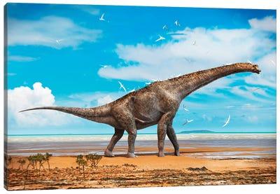 An Old Giraffatitan Walks On The Beach A Flock Of Pterosaurs Uses It As A Perch While Feeding Canvas Art Print