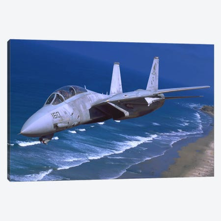 F-14 Tomcat Flying Over San Diego, California Canvas Print #TRK389} by Phil Wallick Canvas Art