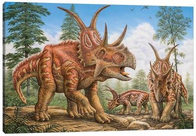 Diabloceratops Dinosaurs Roaming Prehistoric Woodlands Canvas Art Print