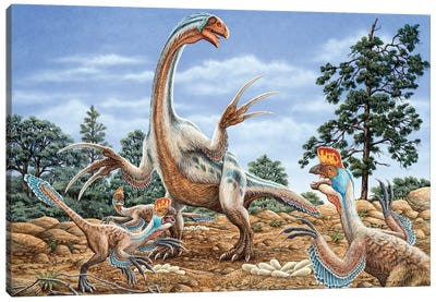 Therizinosaurus Defends Its Nest From A Group Of Oviraptors Canvas Art Print