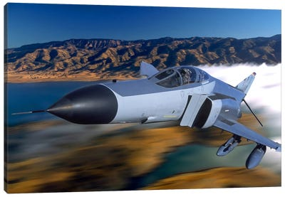 F4 Phantom Flying Over Ukiah, California Canvas Art Print