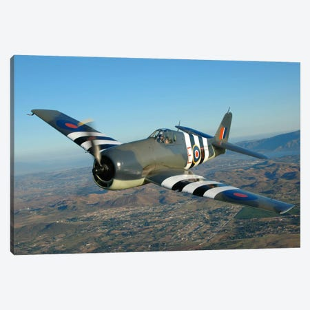 F6F Hellcat Flying Over Chino, California Canvas Print #TRK398} by Phil Wallick Canvas Art Print