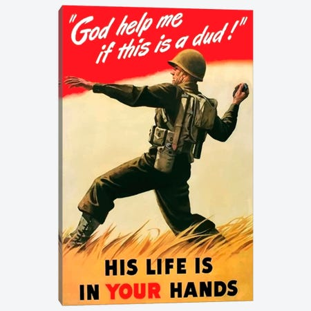 An American Soldier Tossing A Grenade Vintage War Poster Canvas Print #TRK3} by John Parrot Canvas Art