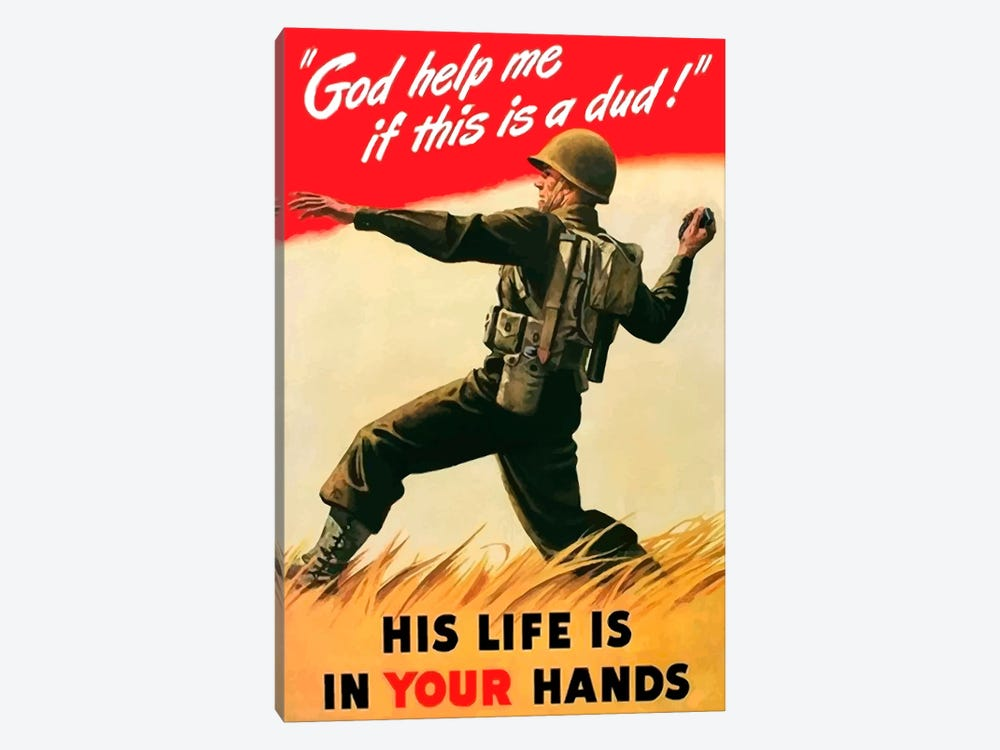 An American Soldier Tossing A Grenade Vintage War Poster by John Parrot 1-piece Canvas Art Print