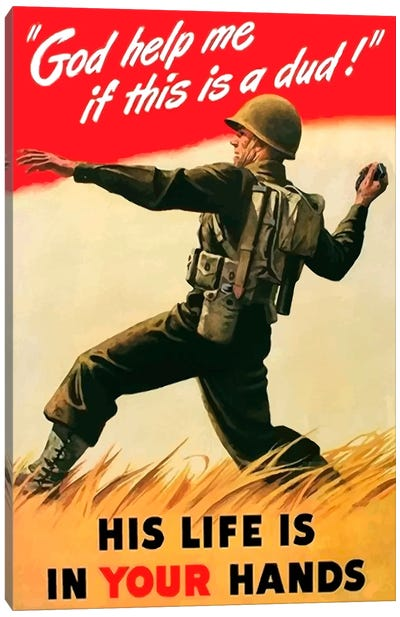 An American Soldier Tossing A Grenade Vintage War Poster Canvas Art Print