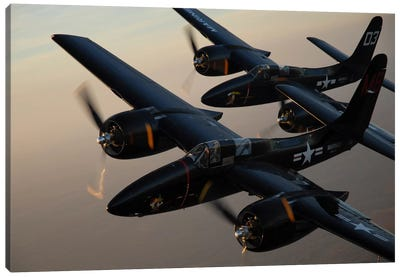 F7F Tigercats Flying Over San Antonio, Texas Canvas Art Print