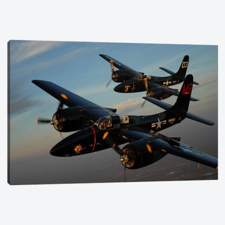 F7F Tigercats In Formation Flight Over San Antonio, Texas Canvas Print #TRK401} by Phil Wallick Art Print